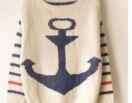Vintage Anchor Stripes Style Sweater Color Blue