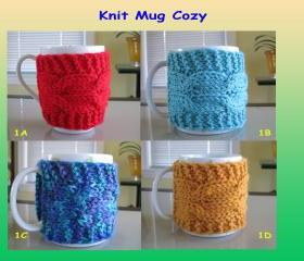 Knit Cup Cozy, Knit Mug Cozy - KMC 1A-1H (8 colors)