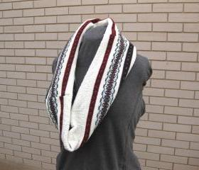 White Fair Isle Upcycled Cowl Neckwarmer Oversized Circle Infinity Scarf Shawl Wrap Shrug Women'sWinter Wear
