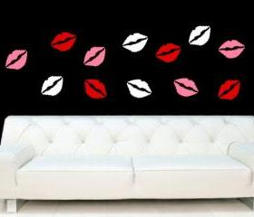 Lips Set of 12 Lips Valentines Day Decor Removeable Vinyl Wall Decals 22248