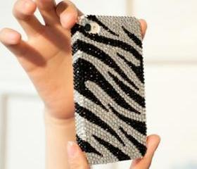 Fashion Zebra Grain Full Rhinestone Hard Cover Case For Iphone 4/4s