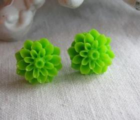 Lime Green Dahlia Chrysanthemum Mum Studs Valentine's Day Gift Gifts for Mom Under $10