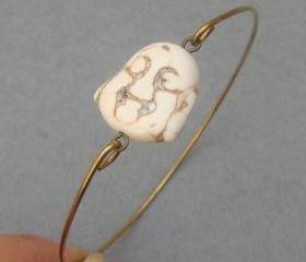 White Turquoise Buddha Head Brass Bangle Bracelet