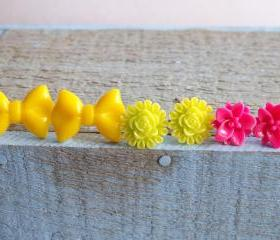 Set of 3 Neon Studs Bow Flowers Pink Yellow Green Valentine's Day Gift Teen Girl Gift Under $20