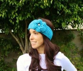 Crochet Winter Headband in Turquoise with Large Flower