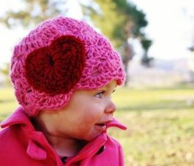 Pink Baby Crochet Hat with Heart Valentines Day