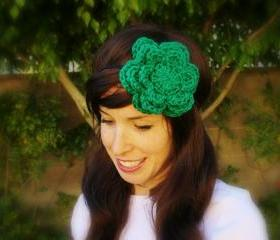 Luck of the Irish Kelly Green Crochet Flower Headband