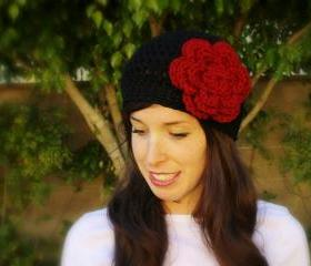 Queen of Hearts Black and Red Crochet Hat