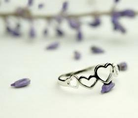 925 Silver Hollow Heart Rings for Women