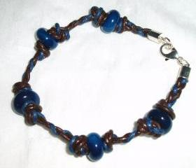 Brown and Blue Plaited Leather Cord Men / Unisex Bracelet Handmade Jewelry gift ideas