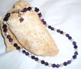 Cultured Pearl and Amethyst Necklace Handmade Gemstone Jewelry