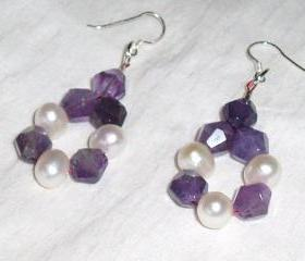 Cultured Pearl and Amethyst Earrings handmade jewelry gift idea