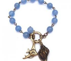 Antiqued Brass Fish Conch Blue Jade Bracelet