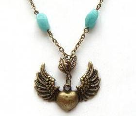 Antiqued Brass Flying Heart Leaf Green Jade Necklace