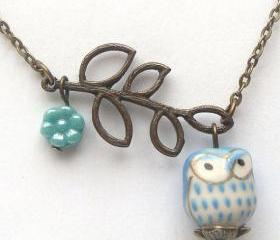 Antiqued Brass Leaf Czech Glass Porcelain Owl Necklace
