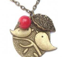 Antiqued Brass Leaf Bird Red Coral Necklace