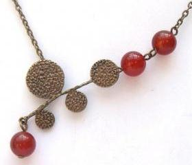 Antiqued Brass Leaf Red Agate Necklace