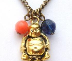 Antiqued Brass Buddha Pink Coral Quartz Necklace