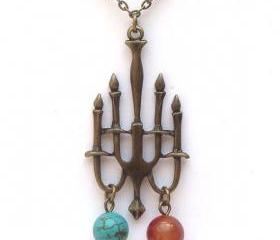 Antiqued Brass Candleholder Turquoise Red Agate Necklace