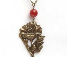 Antiqued Brass Flower Red Agate Necklace