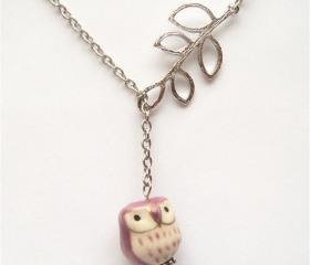 Silver Plated Brass Leaf Porcelain Owl Necklace