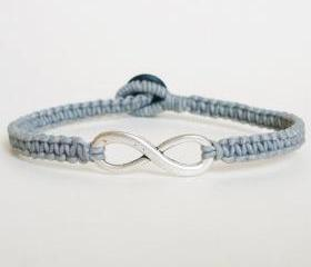 Gray Infinity Bracelet - Simple Single Silver Infinity Sign/Eight woven with Gray Wax Cord Bracelet / Wristband - Men Jewelry - Unisex 