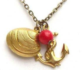 Antiqued Brass Anchor Shell Red Coral Necklace
