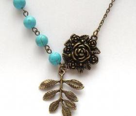 Antiqued Brass Leaf Flower Green Turquoise Necklace