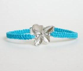 Silver Flower Blue Bracelet - Gift for Her - Gift under 15