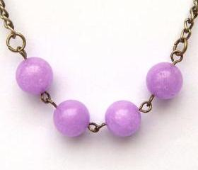 Antiqued Brass Purple Jade Necklace