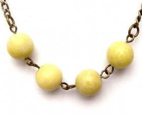 Antiqued Brass Butter Jade Round Bead Necklace