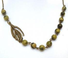 Antiqued Brass Leaf Yellow Turquoise Necklace