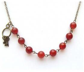 Antiqued Brass Key Red Agate Necklace