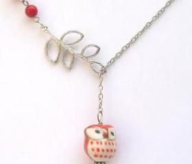 Silver Leaf Coral Porcelain Owl Necklace