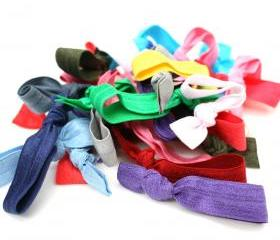 Ribbon Hair Tie Grab Bag (20) - Elastic No Tug Hair Ties - Knotted Hair Tie - Emi Jay Inspired Hair Bands, Ponytails - Girls Accessories