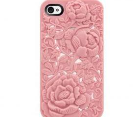 Silicone Case with Rose Pattern for iPhone 4/ 4S in Pink