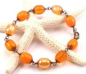 Orange, Vintage Bead Bracelet