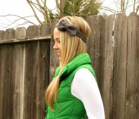 Charcoal Grey Bow Headband with Natural Vegan Coconut Shell Buttons - Adjustable