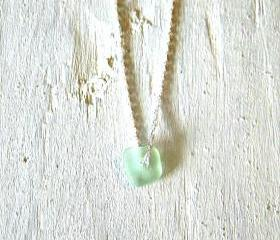 Sterling Silver Sea Glass Necklace - Sea foam Green sea glass jewelry - Sterling Silver Jewelry handmade
