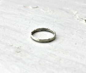 Sterling silver ring, rustic hammered sterling silver band 