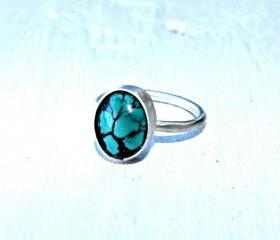 Sterling silver ring - Turquoise ring - skinny stacking ring, sterling silver jewelry handmade