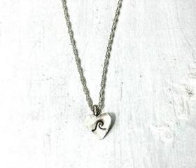 Tiny Heart Necklace, sterling silver mini heart and chain - I heart the ocean pendant, sterling silver jewelry handmade, valentine's day
