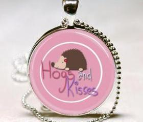 hugs and kisses brown hedgehog pink glass round necklace keychain