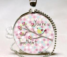 You are a sweet heart birds glass round silver necklace keychain pink