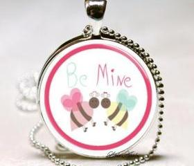 be mine cute bees glass 1 inch round sterling silver necklace keychain