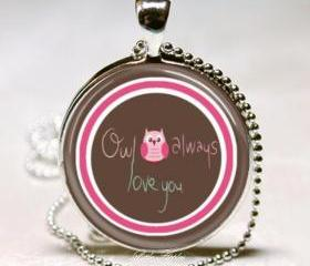 Couple pink owl always love you 25mm glass dome necklace keychain