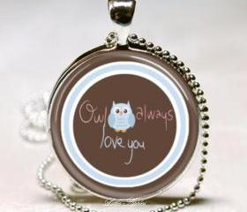 Adorable blue owl always love you thick glass dome necklace keychain