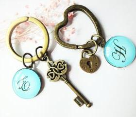 Personalized Initial Letters Key Lock Glass Valentine Couple Keychains