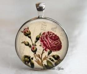 Vinatge red rose flowal silver round glass necklace keychain