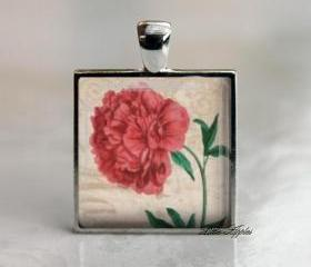 Big red flower antique floral glass tile pendant necklace keychain